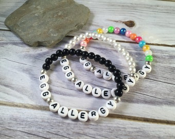 EGG ALLERGY Bracelet - Medical Alert Bracelet - Beaded Allergy Bracelet - Medical Bracelet - Awareness Bracelet - Acrylic Bead Bracelet