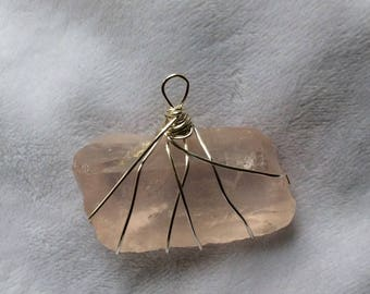 Rose quartz, raw, crystal, silver wire wrapped, bamboo cord