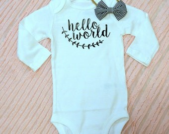 Hello World ; Baby Bodysuit; Baby Shower Gift; Coming Home Outfit