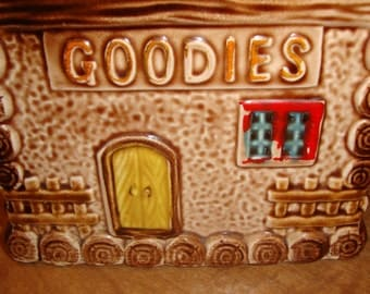"""House Shaped Small COOKIE Jar vintage GOODIES Made in Japan gingerbread color chimney roof lid fun for pet treats 7"""" tall"""