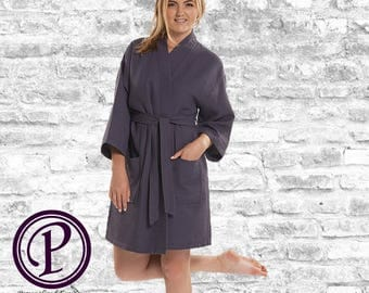 Charcoal Waffle Kimono Bridesmaid Robe, Monogrammed Robe, Embroidered Robe, Wedding Day Robe, Bridesmaid Gifts, Bridal Robes, Spa Robes