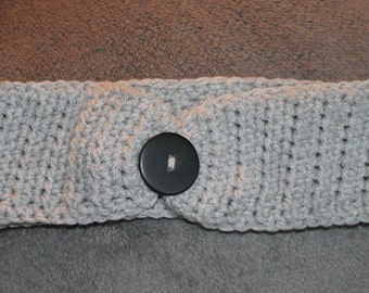 Crochet light grey headband ear warmer