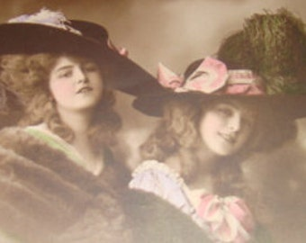 SALE Vintage Hand Tinted RPPC of Two Ladies Wearing Extravagant Hats # 6