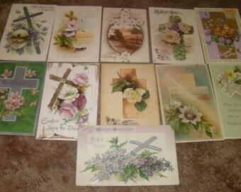 Lot of 11 Vintage Easter Postcards (Crosses)