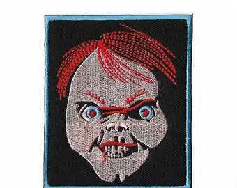 Chucky Patch (3.5 Inch) DIY Embroidered Iron or Sew on Badge Applique Childs Play Horror Movie Souvenir Monster Chucky Killer Doll Costume
