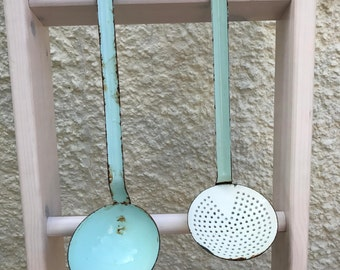French Enamel Ladle and Strainer