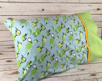 Bug themed flannel standard size pillowcase