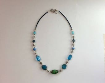 Blue and green folk style beaded necklace, glass and ceramic, old fashioned and detailed, made in Australia, OOAK