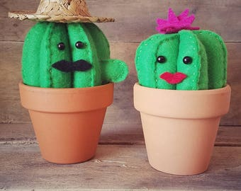Prickly Pair | Cactus Couple | Home Decor | Southwest Style | Felt Cactus | Nursery Decor
