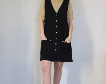 Vintage Black Denim Jumper Dress