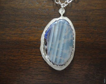 "Striped Agate ""CAT"" Silver Necklace"
