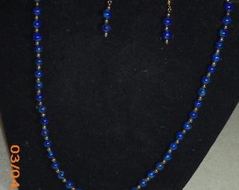 Denim Lapis Necklace & Earring Set