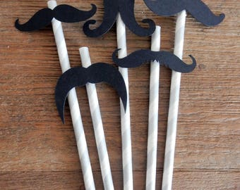 Party Straws. Silver and White paper straws with Moustashes. 5 moustache designs. Birthday, Baby Shower, Party Decor, Handcrafted