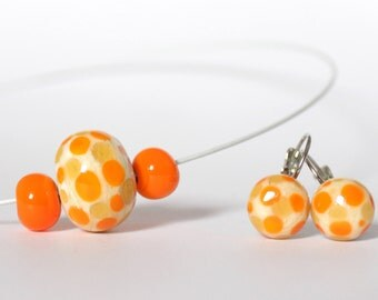 Yellow and ivory lampwork beads necklace and earrings set - Murano glass jewelry