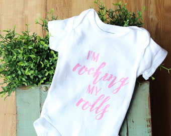 Rocking My Rolls bodysuit, hospital outfit, newborn outfit, new baby gift, baby shower gift, funny bodysuit, going home outfit, baby outfit