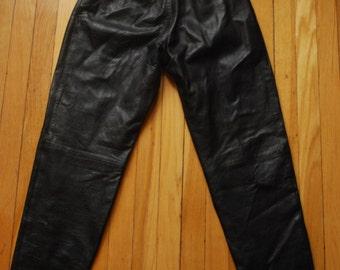 Vintage Black Leather Pants by Cedars