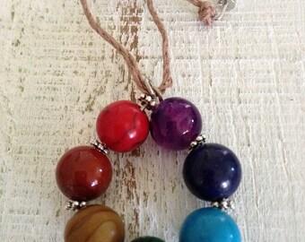 Natural Gemstone Chakra Hemp Necklace