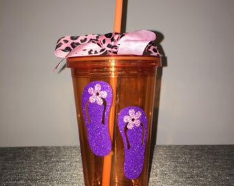 Personalized Flip Flop Sandals Drinking Tumblers