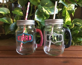 Personalised Glitter Mason Jar Cup with straw