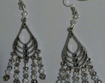 Silver chandelier earrings with clear and grey crystals