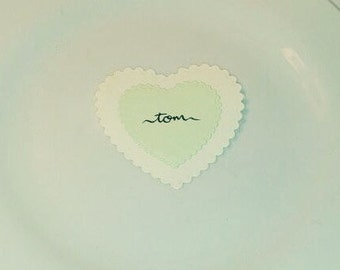 SAMPLE Scalloped heart wedding name place card
