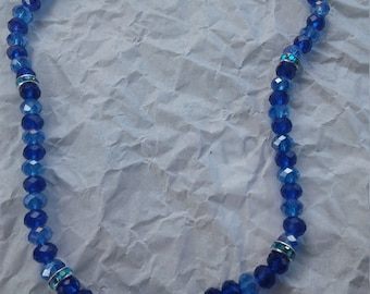 """Blue 17"""" Crystal Bead Necklace"""