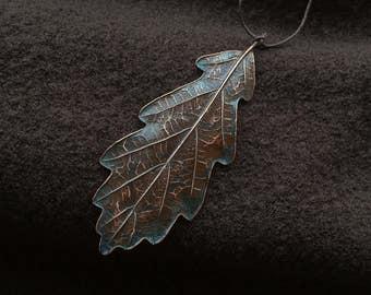 Copper leaf, leaf pendant, electroformed oak leaf, oak leaf pendant, electroplated leaf, copper oak leaf, copper with patina