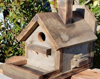 Birdhouse Bird Feeder Rustic Reclaimed Wood with back board for hanging Hand made in California