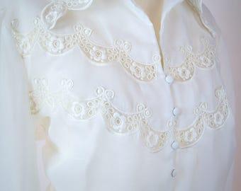 Original 50s lace blouse in white festive, viscose, elegant, retro,