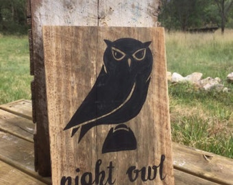 Woodland Creatures Recycled Timber Sign feat. Owl