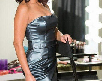 Faux leather corset and Skirt