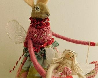 Hare doll  OOAK fairy doll  Rabbit art doll  Easter bunny  Fairy doll