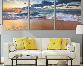 Sunset at Sea and Beach Wall Art Large Canvas Print - Wrapped Wall Art Canvas Print - Modern Wall Art Sea and Beach Canvas Print
