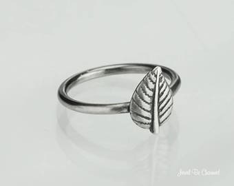 Sterling Silver Aspen Leaf Ring Solid .925 Tree Leaves Custom Sizes