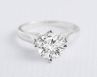 Solitaire Moissanite White Gold Ring Forever One Forever Brilliant Moissanite Bridal Set Wedding Ring Anniversary Promise Simple Minimalist