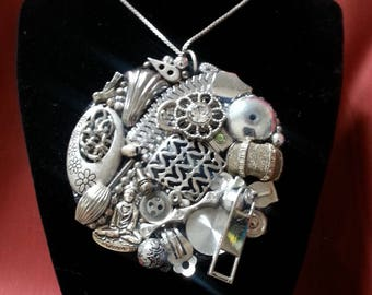 Silver Up-Cycled Glam Junk Necklace