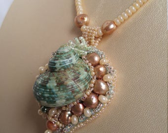 Mermaid Shell & Pearl Bead Embroidered Necklace