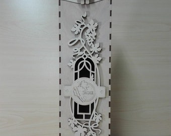 Laser Cutted Wine BOX made of 3mm plywood