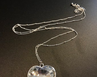 Clear Crystal Heart Pendant Necklace