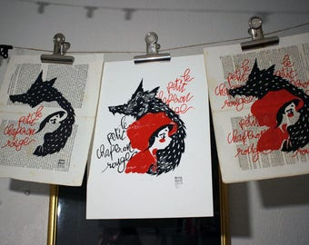 The little Red Riding Hood - Red Riding Hood - linocut
