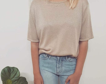 90's Vintage // Tan Knit Top // Womens Open Size