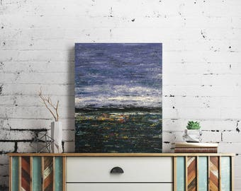 Original Abstract Art Painting // 'After The Storm' by Paul Hoskins // Blue Ocean & Sky Scene // Acrylic on Canvas