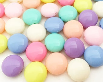 16mm Pastel Flat Beads - Assorted Colors Chunky Beads Resin Jewelry Making Craft Supplies
