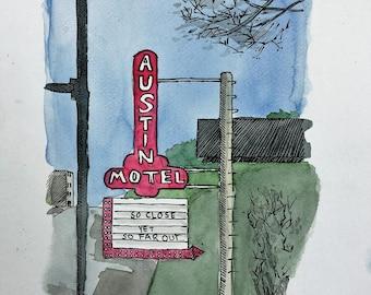 Austin Motel, South Congress, Austin, Texas - Watercolor