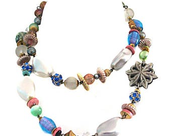NECKLACE vintage glass beads fantasy