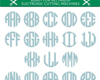 Scalloped Monogram Svg Scalloped Monogram Font Svg Scalloped Alphabet Cut Files Silhouette Studio Cricut Svg Dxf Jpg Png Eps Pdf Ai Cdr