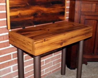 "Counter-height reclaimed Cedar ""chair-and-a-half"""