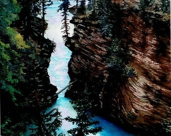 """Athabasca Falls, Canada Watercolor Signed Print 16""""X12.5"""" gifts under 60"""