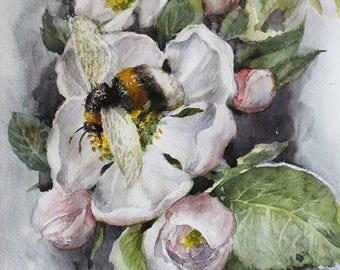 Original watercolor bumblebee, watercolor bee, art bee, Christmas gift art decoration for home, home decoration, art bumblebee, gift for her