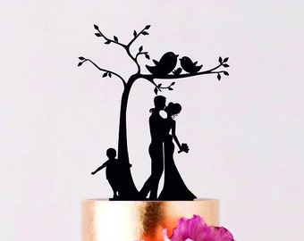 Under the Tree Wedding Cake Topper Family Cake Topper Custom Wedding Topper Bride and Groom with little boy Couple with child